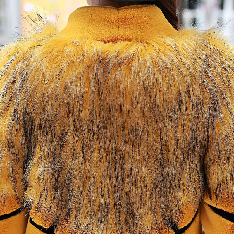 Nerazzurri Women extralanger Kunstpelzmantel mit gelben und schwarzen - Damenbekleidung - Foto 5
