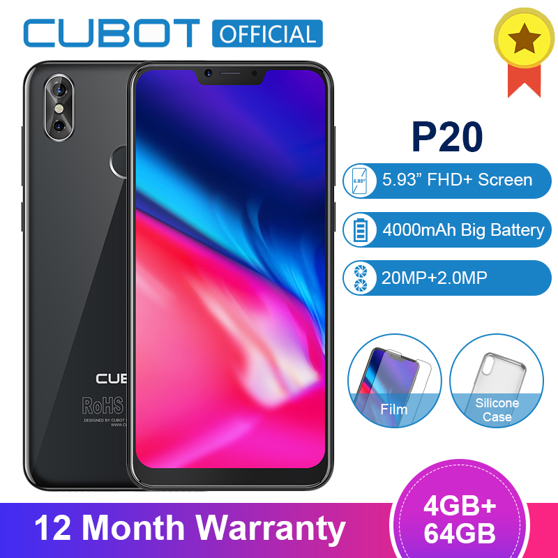 Cubot P20 Android 8 0 19 9 Notch Screen 4GB 64GB 6 18 MT6750T Octa Core