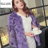 100% Real Fox Fur Coat 2017 New Women Real Genuine Fox Fur Winter Fur Coat Female Jacket Lady Outwear High Quality Real Fur Coat