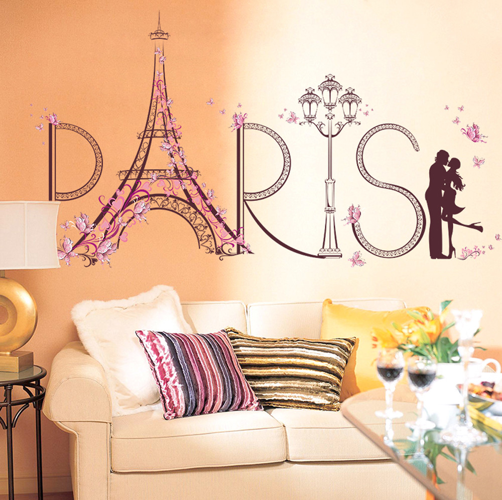 Paris Wall Stickers Romance Decoration Wall Poster Home Decor For Girl DIY Wall Decal Removable home decoration art Wall Decor