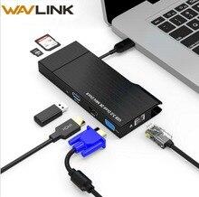 Full HD Çift 2K Combo Mini Yerleştirme Istasyonu USB 3.0 Hub USB kart okuyucu Gigabit Ethernet Hub Çoklu Ekran HDMI /VGA Mac Pencere