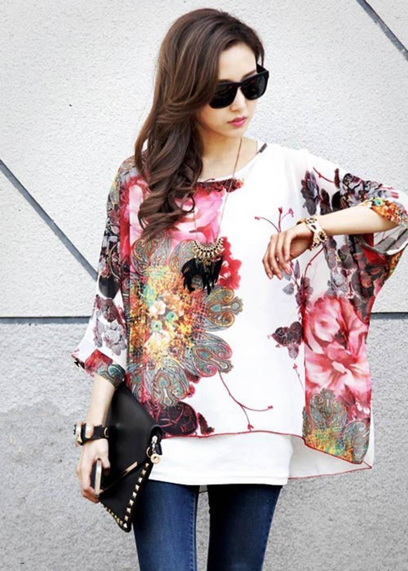 a2bc285b Vogue flower printed women sheer shirts big size summer tops 2016 fashion  design plus size chiffon
