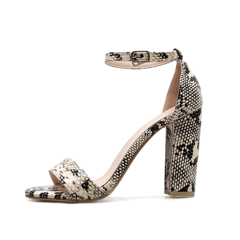 Snake Ladies Print Tacchi Donna 2019 donna Strap Sandali Albicocca Wetkiss Toe alti Spring Fashion Thick Anklet Shoes Open v1zqqP8w