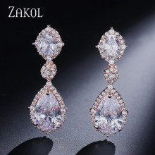 ZAKOL  Elegant Water Drop Shaped Cubic Zirconia Drop Earrings Crystal Long Wedding Jewerly For Brides FSEP2034 gulicx zircons elegant drop aaa cubic zirconia long big crystal bridal earring for wedding jewelry