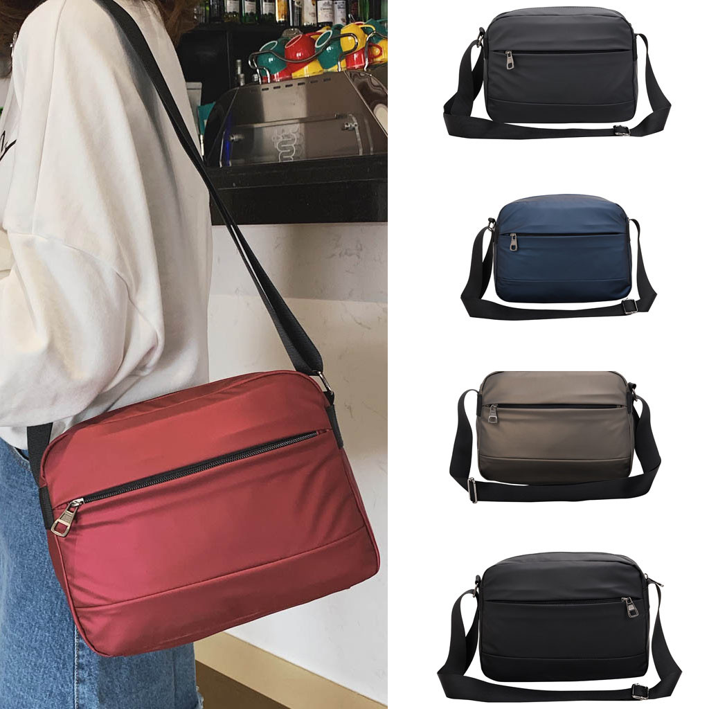 Women's Solid Color Diagonal Bag Waterproof Shoulder Bag Large Solid Zipper Small Simple