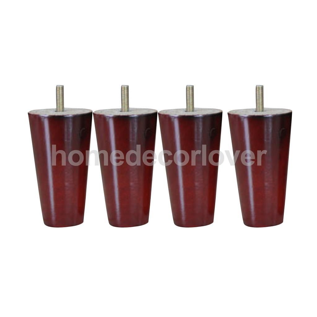 4Pcs 4inch Height Cone Shape Eucalyptus Solid Wood Furniture Sofa Legs Red bqlzr 180x58x35mm cone black eucalyptus material sofa chairs wooden replacement furniture legs pack of 4