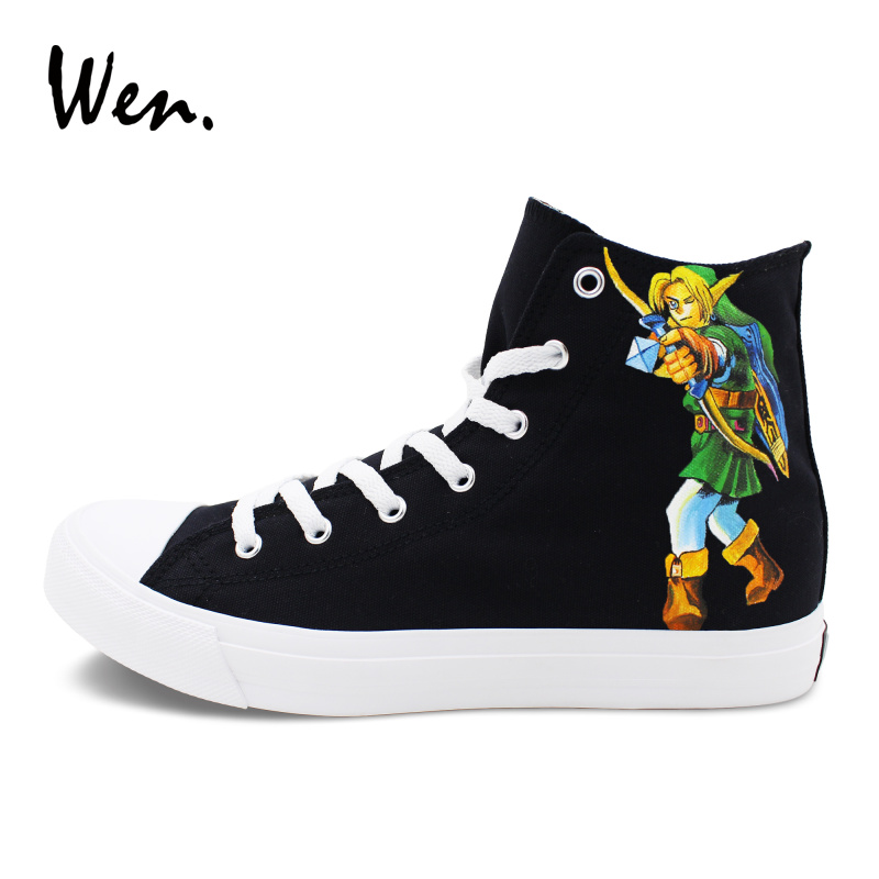 Wen Men Women High Top Sneakers Lace Up Flat Design The Legend of Zelda Hand Painted Shoes Black Canvas Graffiti Painting Flat black v neck lace up design cami top