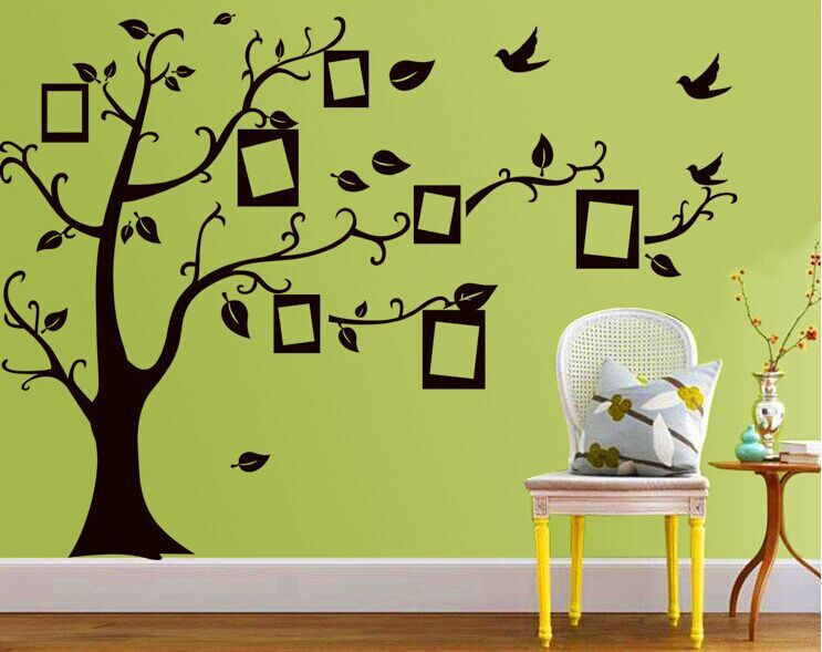 1set Large Size 90*120cm Black Color Family Tree Sticker Wall Decal U0026 Photo  Frame Tree Stickers For Living Room Wall Decor In Wall Stickers From Home  ...