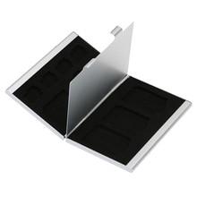 Черная алюминиевая коробка для хранения 12 в 1, чехол для держателя карты памяти, кошелек для 4 * SD Micro SD SDHC SDXC MMC 8 * TF SIM-карты