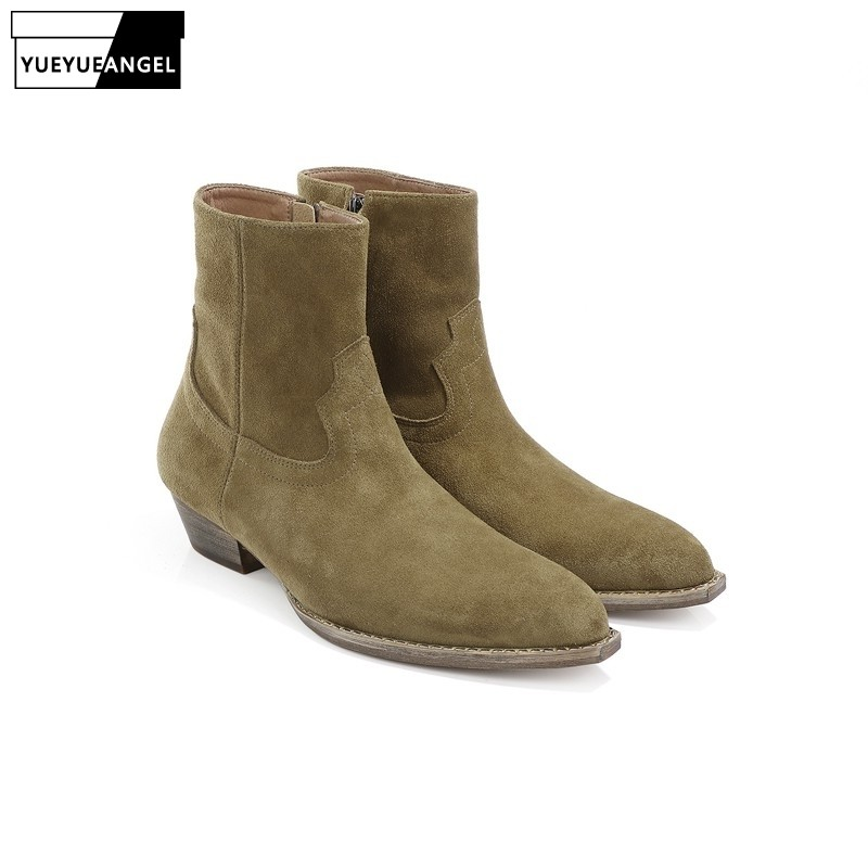 2019 Fashion Solid Color Zipper Chelsea Boots Men Brand Design Suede Leather Square Toe Ankle Boots Large Size 46 Casual Shoes