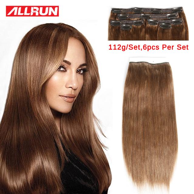 6 Pçs/set Grampo em extensões de cabelo com grampos de cabelo humano 3 # brasileiro virgem do cabelo com grampos 112g grampo de cabelo humano em extensões