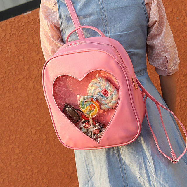 RU&BR New Casual Summer Candy Transparent Love Heart Shape Backpacks School Mini Backpacks Shoulders Bags For Teenager Girls