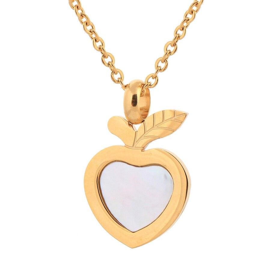 2e7dc9a6477f Acero inoxidable colgante de Apple Shell joyería moda oro gargantilla  collares para las mujeres