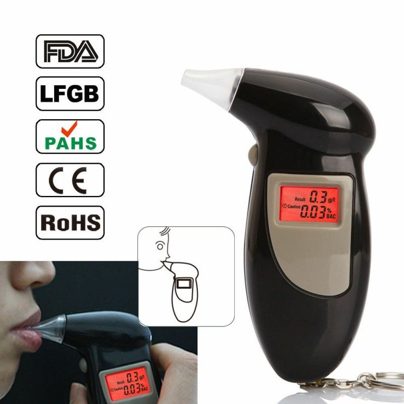 Professional Digital Alcohol Tester Breath Alcohol Tester Breathalyzer Breathalyser Alcohol Breath Tester With 5 Trip