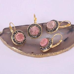 Image 4 - 10 pares de pendientes de piedra Natural para mujer de titanio geoda pendientes modernos de cuarzo redondo