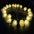 Luminaria 4 m 20 lâmpadas led branco Frete Grátis Antigo Pinha de Natal Luz LED String Garland Início Jardim Decoração Do Casamento
