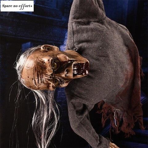 Controle de Voz Decoração do Dia das Bruxas Halloween Horror Adereços Decoração Suspensão Fantasma Boneca Assustador Esqueleto Animado Longo Cabelo Presente
