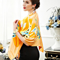 110cm Fairy Butterfly Elegant Pure silk wrap Women's  big Square Silk Scarf  crepe satin plain square silk scarves yellow color