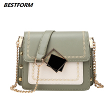BESTFORM Travel Handbag Contrast Color Leather Crossbody Bags For Women Fashion Flap Shoulder Messenger Bag Ladies