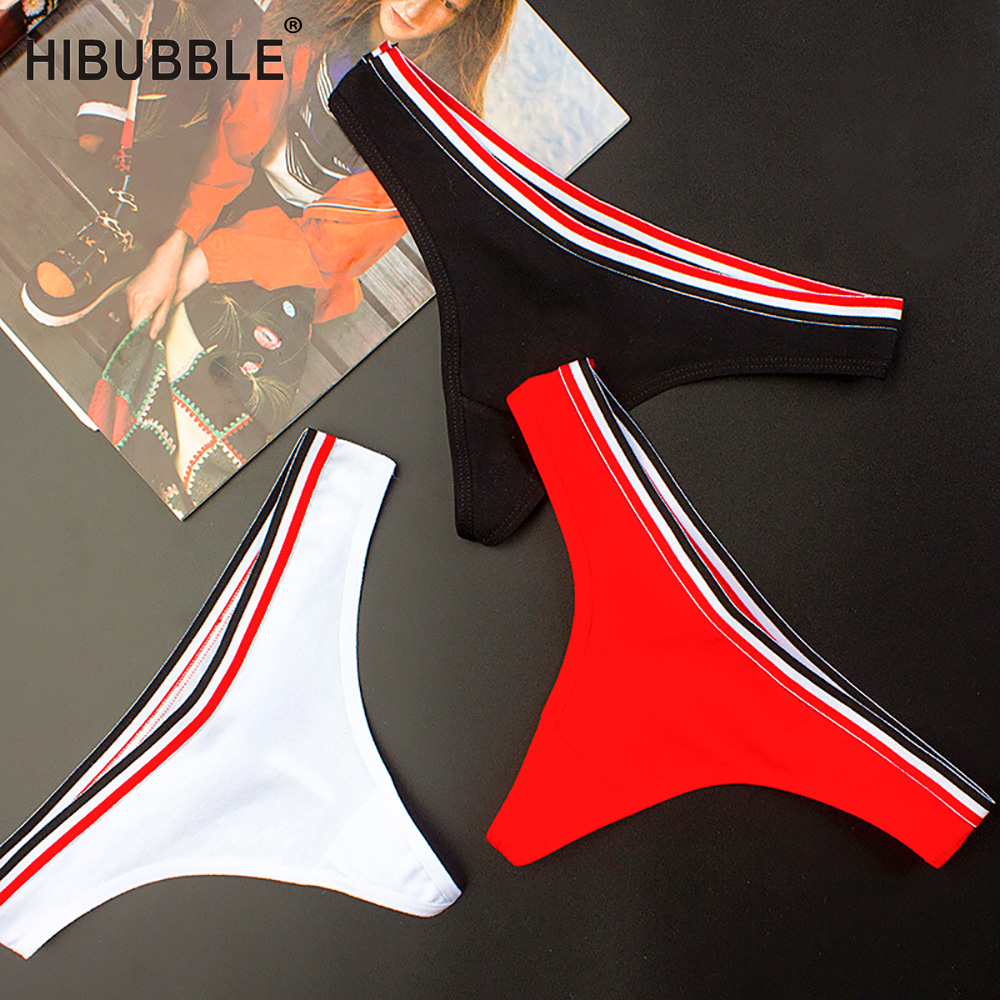 HIBUBBLE Simple Design Sporty Style Cotton   Panties   String Thongs Seamless Briefs Sexy Lingerie Fashion Soft Women Underwear
