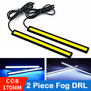 LAUTO 2PCS Daytime Running lights Led COB Fog Lamp Universal Waterproof Car Styling Led Day light DRL Lamp For Auto 17cm 1