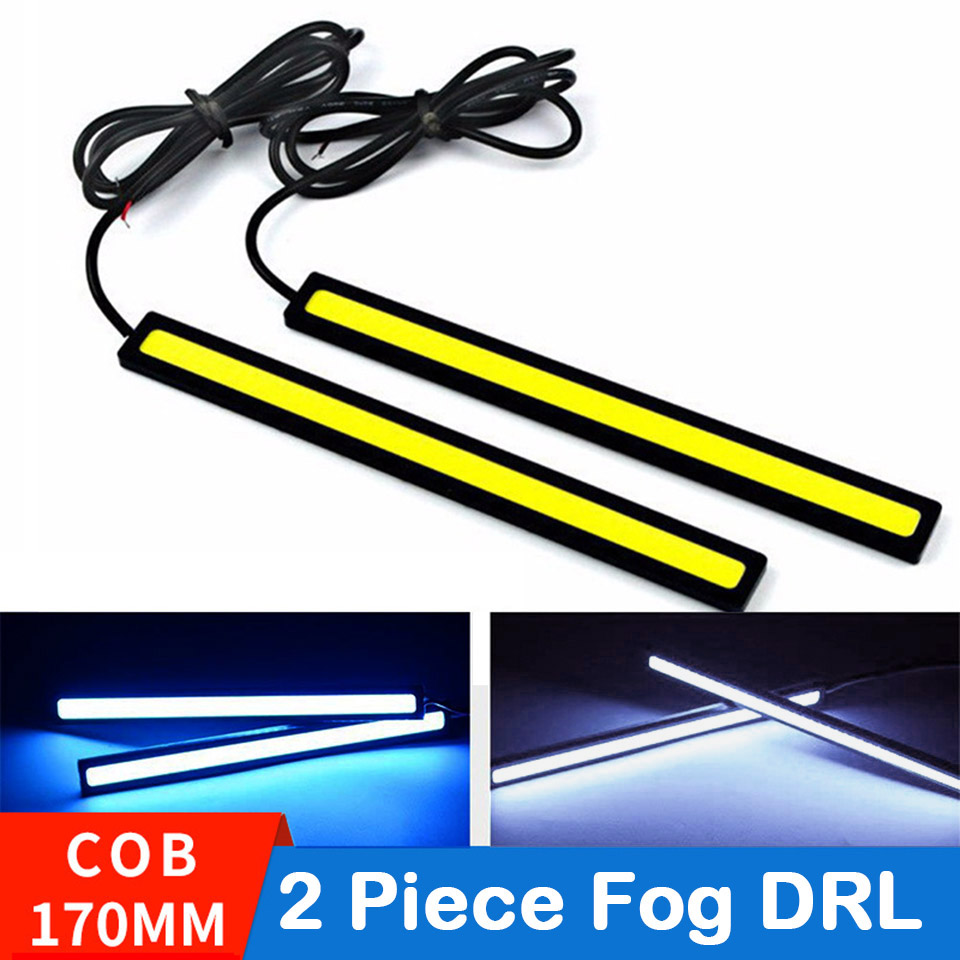 LAUTO 2PCS Daytime Running Lights Led COB Fog Lamp Universal Waterproof Car Styling Led Day Light DRL Lamp For Auto 17cm