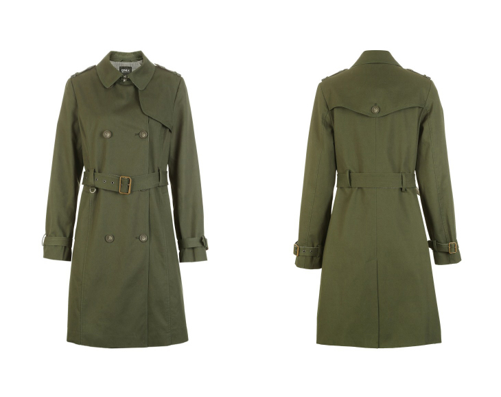 ONLY Women's Bi-tone Fabric Double-breasted Wind Coat 118336571 18