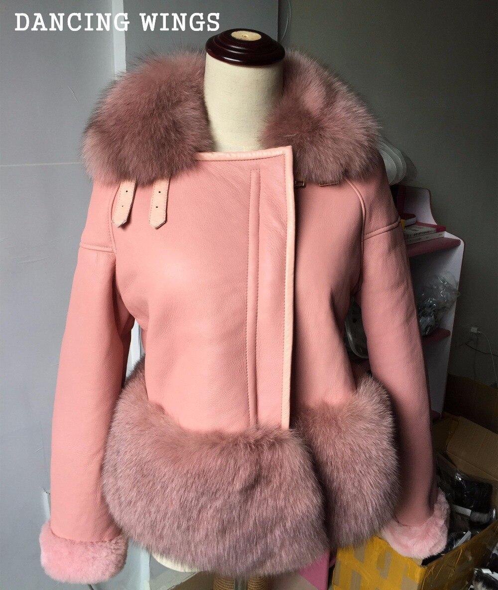 Hiver tonte des moutons fourrure une pièce manteau de luxe réel fox col de fourrure court paragraphe véritable vestes en cuir femme COMME- 10