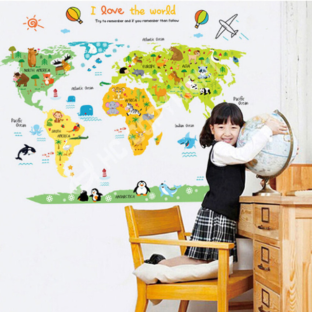 New world animal map wall sticker for kids bedroom decals nursery new world animal map wall sticker for kids bedroom decals nursery children educational wallpaper home decor gumiabroncs Image collections