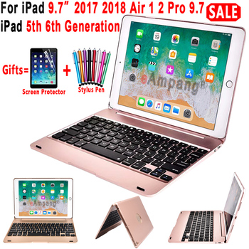 Top Flip Keyboard untuk Apple Ipad 9.7 2017 2018 5th 6th Generasi Bluetooth Keyboard Case untuk iPad Air 1 2 5 6 Pro 9.7 Cover