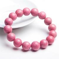13.5mm Big Pink Rose Round Beads Jewelry Charm Bracelets Natural Rhodonite Gem Stone Love Stretch Lady Women Bracelet Just One