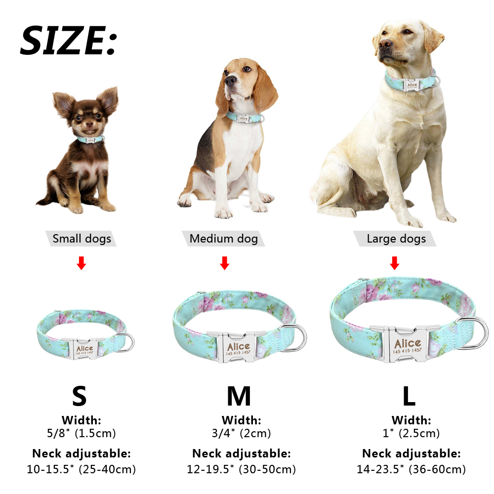 Dog Collar Personalized Nylon Pet Dog Tag Collar Custom Puppy Cat Nameplate ID Collars Adjustable For Medium Large Dogs Engraved 6