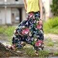 2016 Plus Size Vintage Cotton Linen Pants Women Casual Elastic High Waist Wide Leg Pants Print Harem Pants Trousers Pantalones