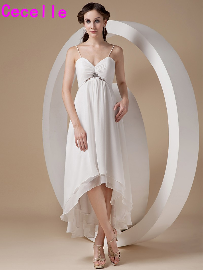 Us 99 57 30 Off Informal Chiffon Ivory High Low Maternity Wedding Dresses With Spaghetti Straps Summer Reception Gowns For Pregnant In
