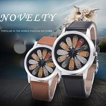 Роскошные модные унисекс Сова перо кварцевые Круглый циферблат школы наручные часы пара аксессуар мужчины женщина часы браслет