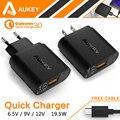 Aukey QC3.0 Qualcomm Carregador de Parede USB Carregador de Carga Rápida 3.0 Portátil Carregador de Viagem Universal para o Telefone Pad Tablet PC