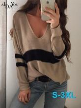 Aidayou Sexy Pullovers sweater Women Batwing Sleeve brand Strip black knitwear Autumn winter ouc3329
