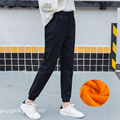 2016 de Cachemir Cálido Pantalones Vaqueros para Las Mujeres Grandes Negro Pantalones Haren con Alta Cintura Elástica Pantalones Vaqueros de Cintura Femenina Pantalones Vaqueros de Invierno para mujeres