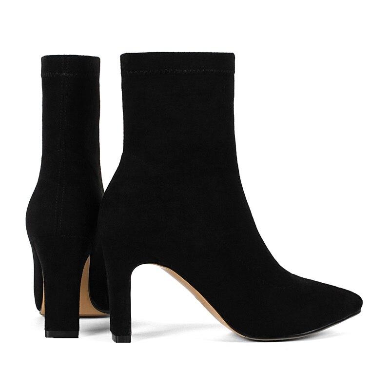 Chaussons Flock Hauts Chaussures Dames Supérieure Élégante Bottines Talons Femmes Mode Taille Qualité Lady Robe De Égérie Grande Mariage Newset black Apricot xZq7nXtPn