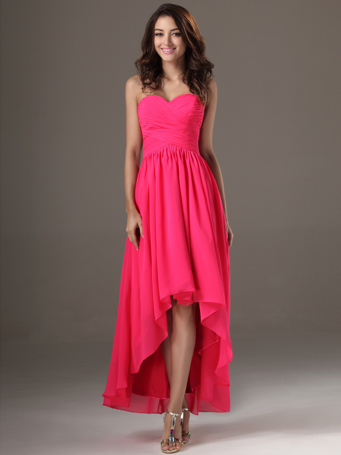 2016 cheap fuchsia simple long high low sweetheart ruched for Cheap wedding dresses for guests