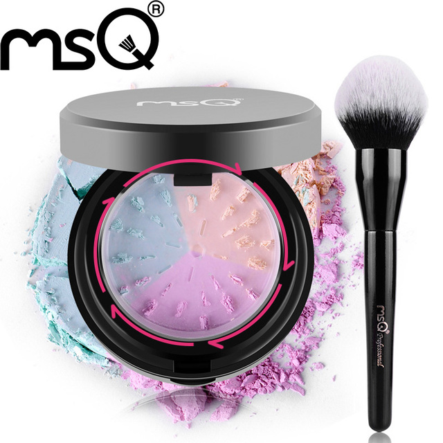 Free Shipping MSQ Makeup Set Makeup Brushes Powder Make Up Brush And 3 Colors Mineral Pressed Powder Make Up With a puff