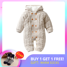 IYEAL Thick Warm Infant Baby Rompers Winter Clothes Newborn Baby Boy Girl Knitted Sweater Jumpsuit Hooded Kid Toddler Outerwear rainbow striped pattern hooded romer baby rompers winter thick climbing clothes newborn boys girls warm romper knitted sweater