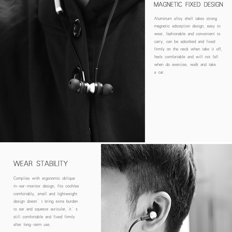 Baseus Magnet Wireless Bluetooth Earphone Headphone For iPhone X 8 7 Samsung Sport Wireless Headset With Mic Stereo Earpieces 3