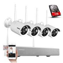 ANNKE 4CH 960 P HD Al Aire Libre IR de La Visión Nocturna de Vigilancia de Vídeo de Seguridad 4 unids Cámara IP WIFI CCTV Wireless System Kit NVR 1 TB HDD
