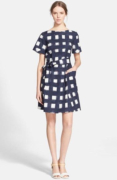05eaeae293a Designer Women Linen Dresses Blue White Plaid Empire V-neck Short Sleeve  with Cotton Lining Sashes Breathable Comfortable