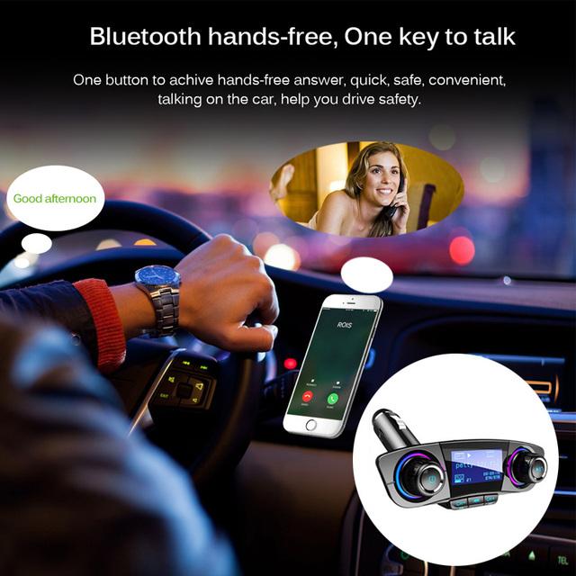 JINSERTA Power ON OFF Bluetooth 4.0 FM Transmitter Modulator Handsfree Car Kit TF USB Music AUX Audio MP3 Player