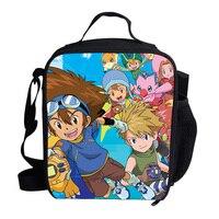 KOLLEGG Cooler Bag Cartoon Digimon Advenure Print Portable Insulated Food Picnic for Boys&Girls Kids Cooler Lunch Box