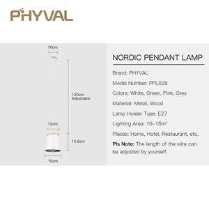 Image 5 - Lampe suspendue en bois et en fer au design nordique moderne, luminaire dintérieur en aluminium, LED ampoules, idéal pour une chambre à coucher ou une cuisine, E27