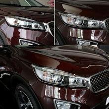 цена на Headlight Decorative Trim Silvery For Kia Sorento L 2015 ABS Chrome New Style