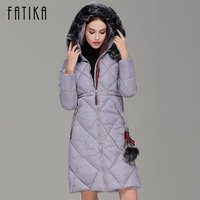 FATIKA 2017 Winter Women Thick Parka Cotton Padded Fur Collar Hooded Parkas Plus Size Casual Slim